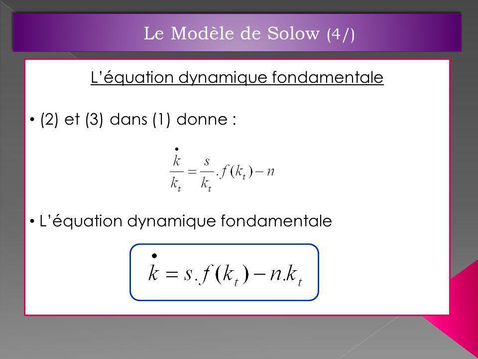 Léquation dynamique fondamentale (2) et (3) dans (1) donne : Léquation dynamique fondamentale