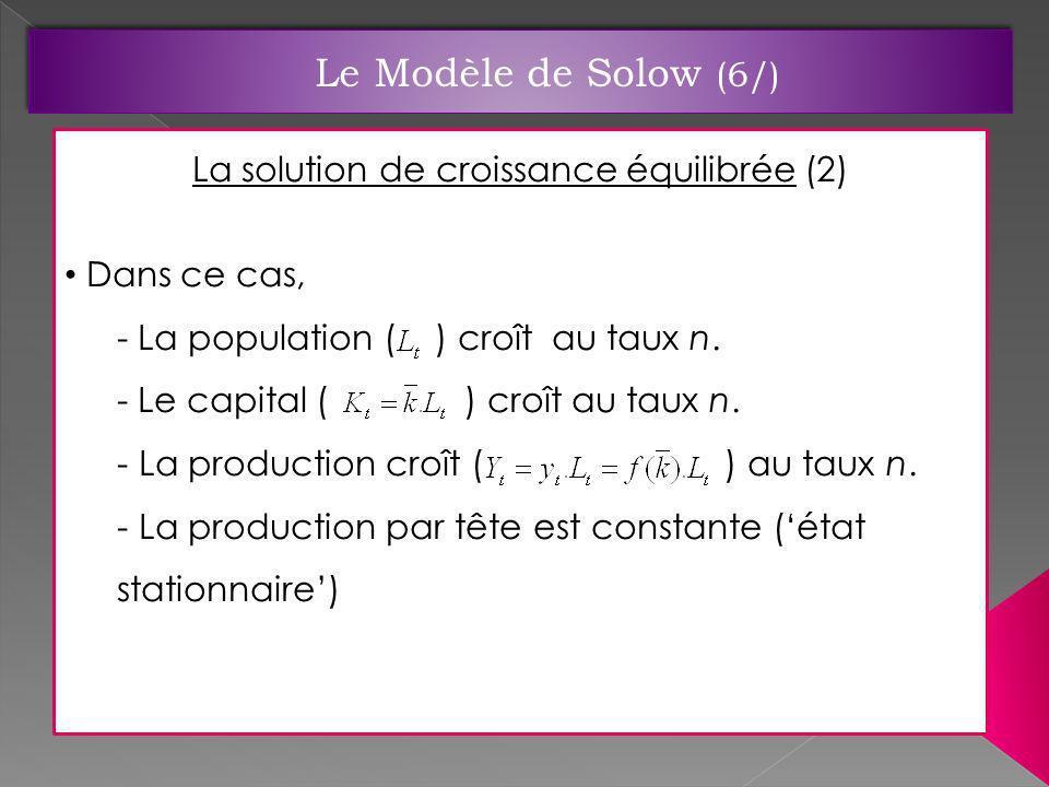 La solution de croissance équilibrée (2) Dans ce cas, - La population ( ) croît au taux n. - Le capital ( ) croît au taux n. - La production croît ( )