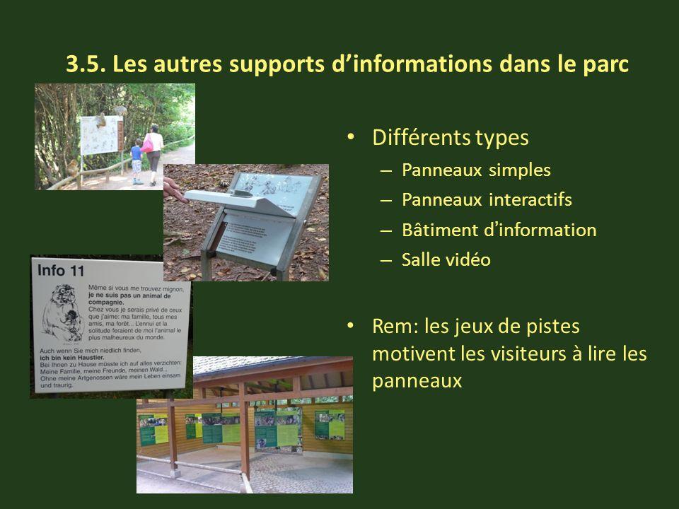 3.5. Les autres supports dinformations dans le parc Différents types – Panneaux simples – Panneaux interactifs – Bâtiment dinformation – Salle vidéo R