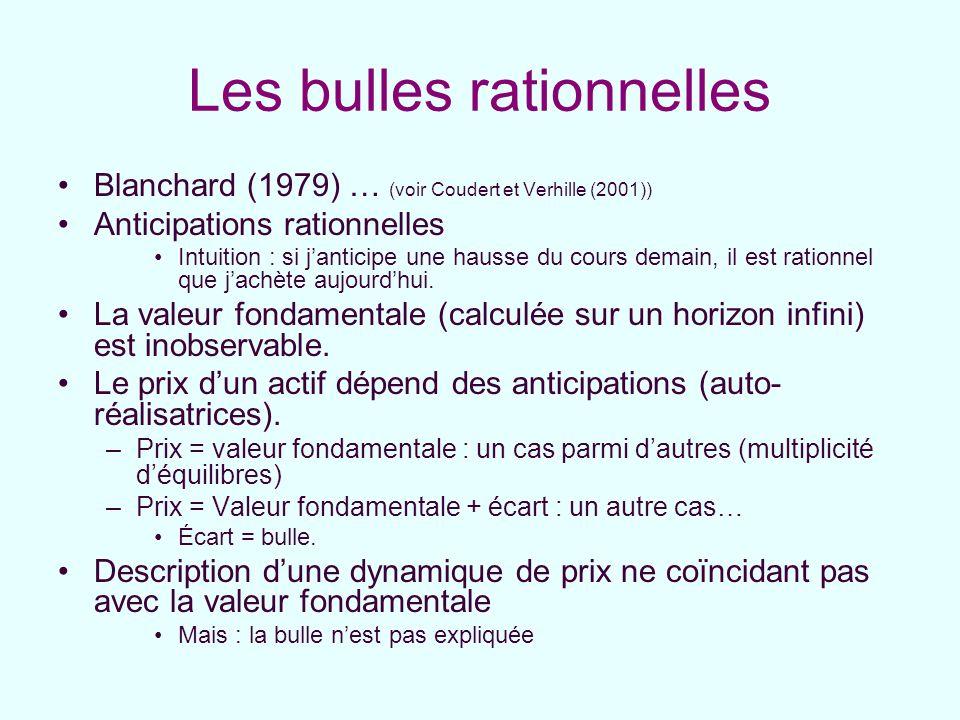 Les bulles rationnelles Blanchard (1979) … (voir Coudert et Verhille (2001)) Anticipations rationnelles Intuition : si janticipe une hausse du cours d