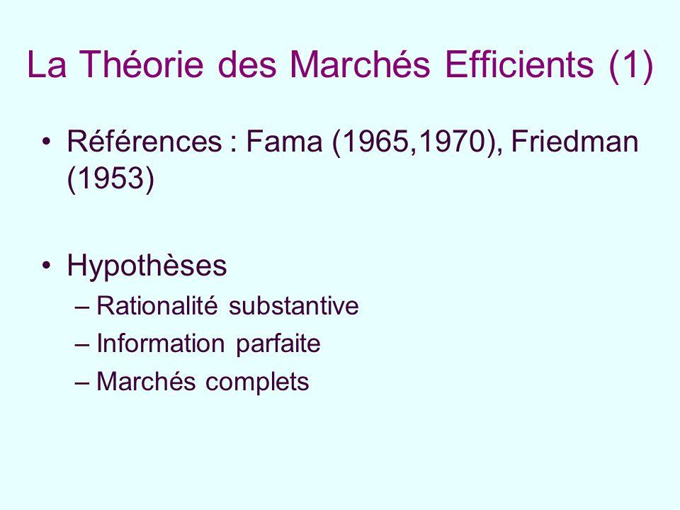 La Théorie des Marchés Efficients (1) Références : Fama (1965,1970), Friedman (1953) Hypothèses –Rationalité substantive –Information parfaite –Marché