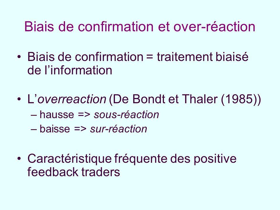 Biais de confirmation et over-réaction Biais de confirmation = traitement biaisé de linformation Loverreaction (De Bondt et Thaler (1985)) –hausse =>