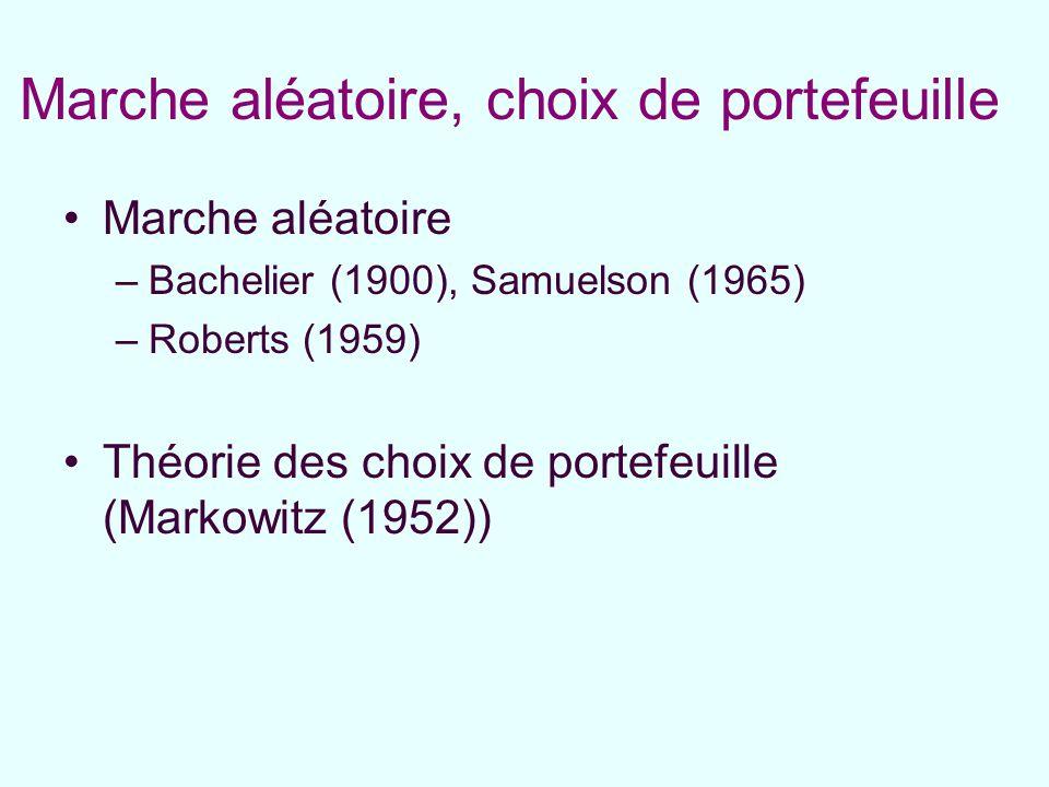 Marche aléatoire, choix de portefeuille Marche aléatoire –Bachelier (1900), Samuelson (1965) –Roberts (1959) Théorie des choix de portefeuille (Markow