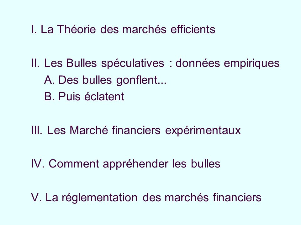 I.La Théorie des marchés efficients II. Les Bulles spéculatives : données empiriques III.
