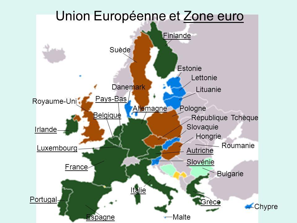 Finlande Suède Estonie Lettonie Lituanie Pologne République Tchèque Slovaquie Hongrie Roumanie Autriche Slovénie Bulgarie Chypre Grèce Malte Italie Espagne Portugal France Luxembourg Irlande Royaume-Uni Danemark Belgique Pays-Bas Allemagne Union Européenne et Zone euro