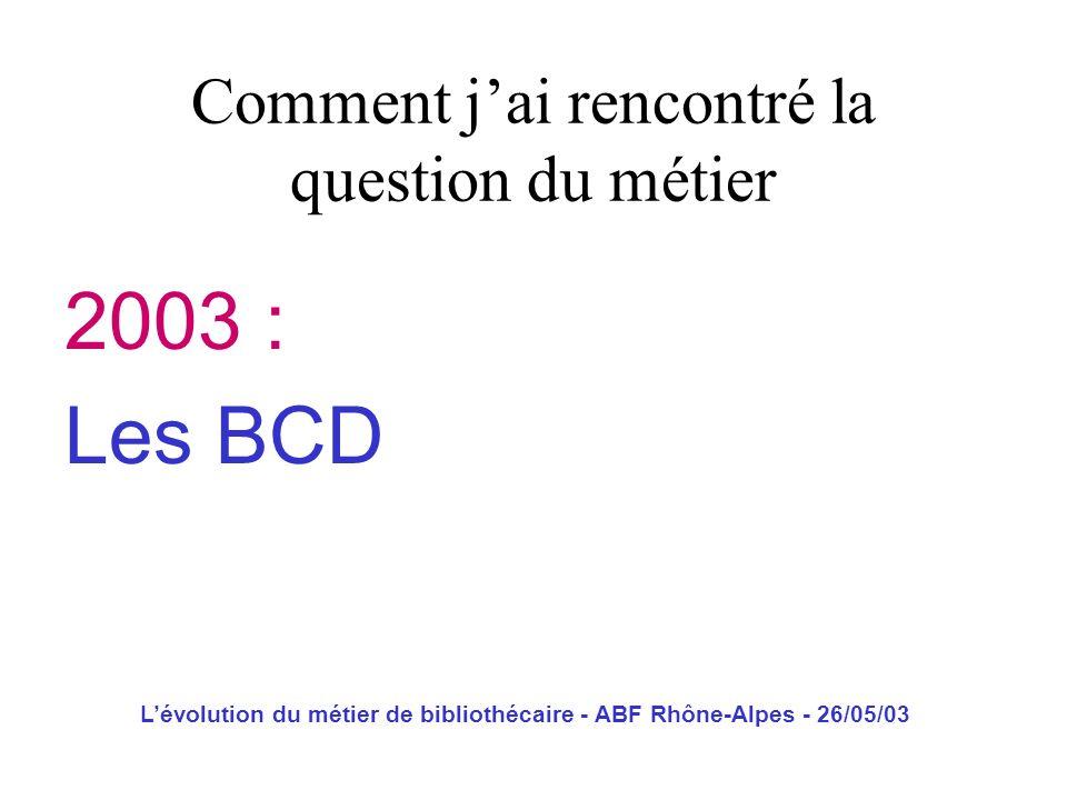 Lévolution du métier de bibliothécaire - ABF Rhône-Alpes - 26/05/03 2003 : Les BCD Comment jai rencontré la question du métier
