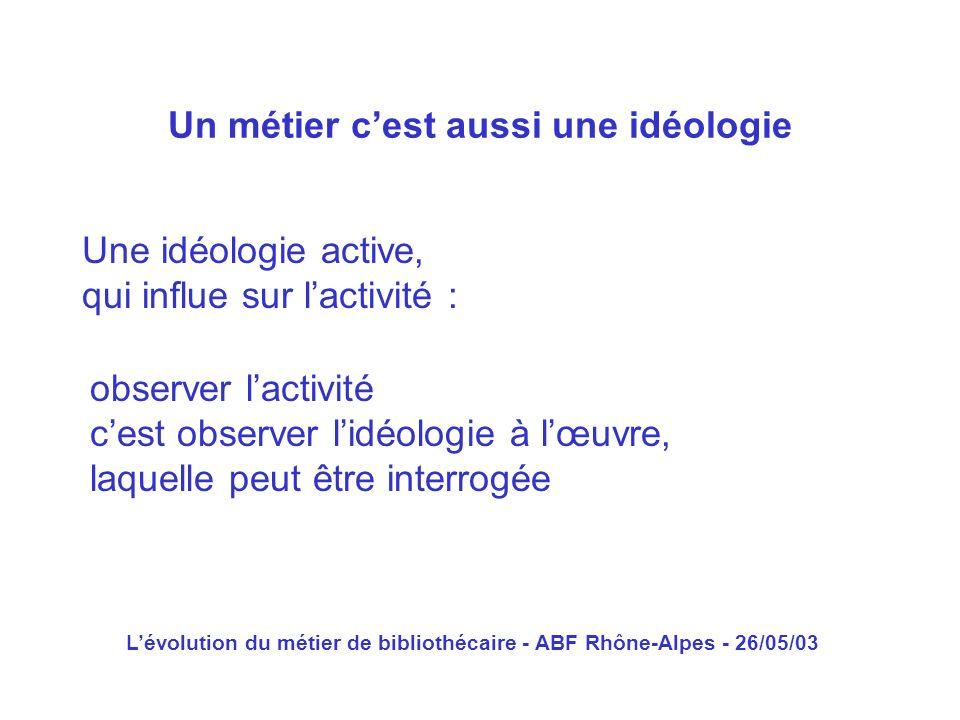 Lévolution du métier de bibliothécaire - ABF Rhône-Alpes - 26/05/03 Une idéologie active, qui influe sur lactivité : Un métier cest aussi une idéologi