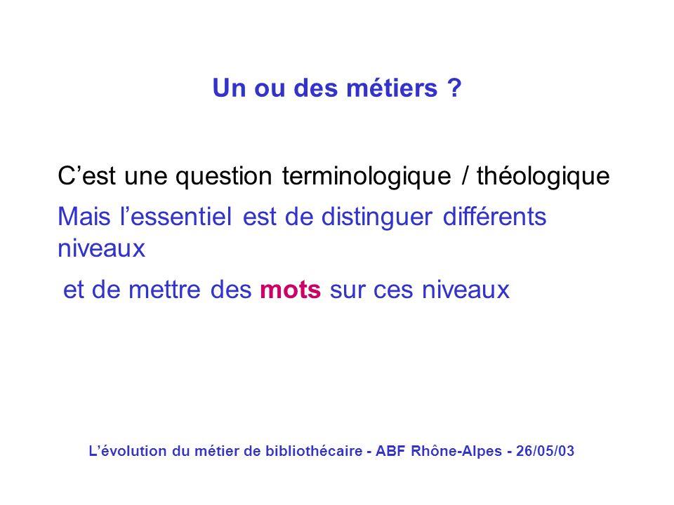 Lévolution du métier de bibliothécaire - ABF Rhône-Alpes - 26/05/03 Cest une question terminologique / théologique Un ou des métiers ? Mais lessentiel