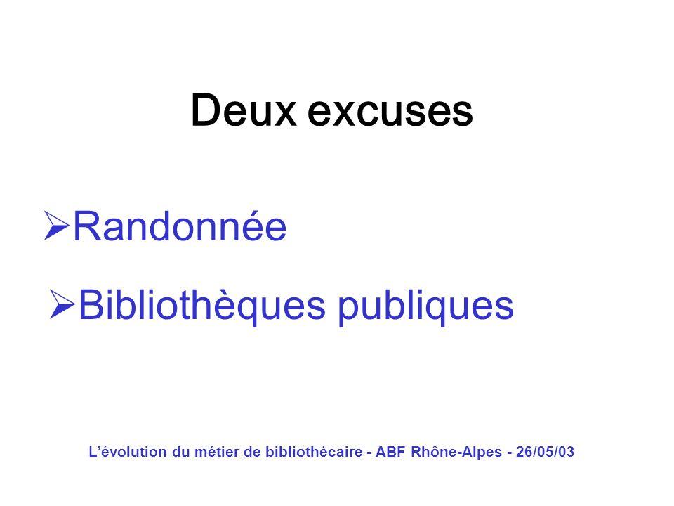 Lévolution du métier de bibliothécaire - ABF Rhône-Alpes - 26/05/03 Une entrée en matière Les bibliothécaires parlent beaucoup des bibliothécaires aux bibliothécaires