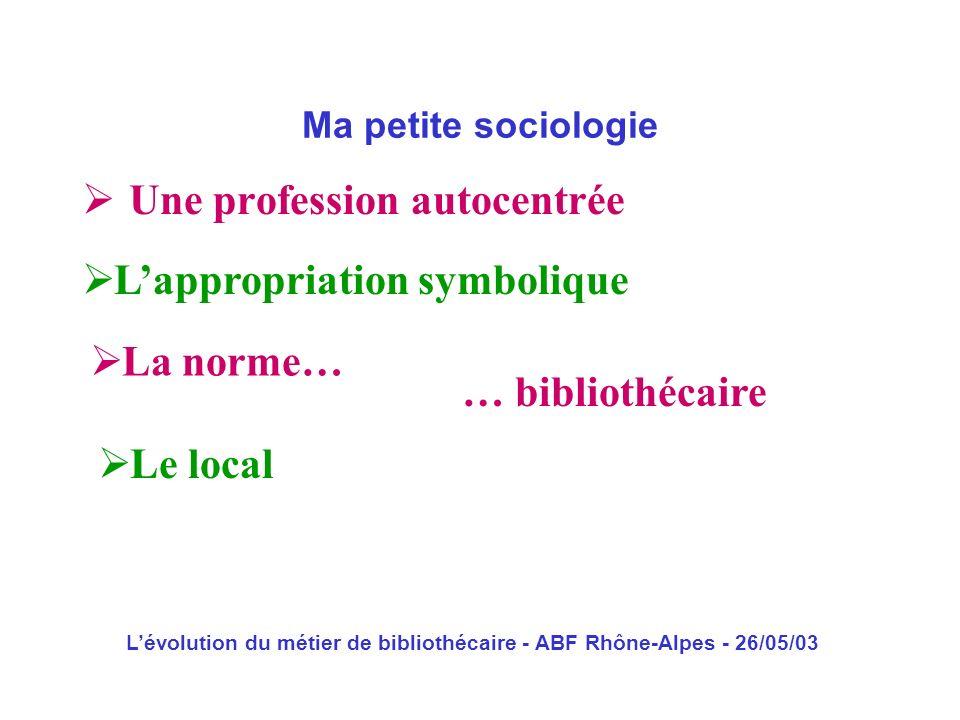 Lévolution du métier de bibliothécaire - ABF Rhône-Alpes - 26/05/03 Une profession autocentrée Ma petite sociologie Lappropriation symbolique La norme