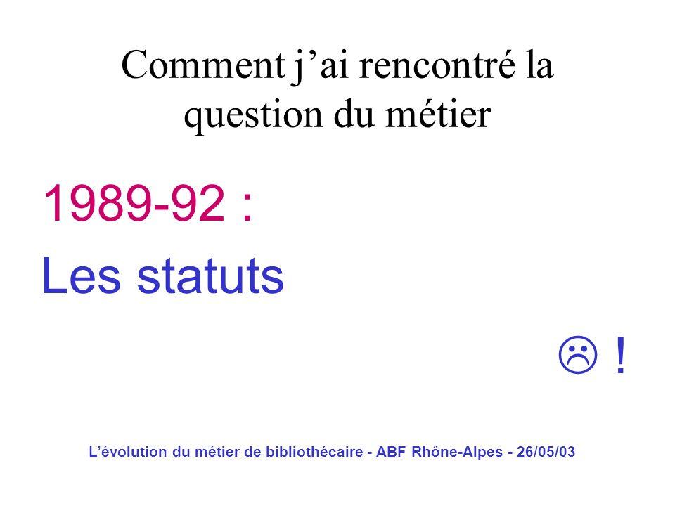 Lévolution du métier de bibliothécaire - ABF Rhône-Alpes - 26/05/03 1994 : Du profil de poste au métier Comment jai rencontré la question du métier
