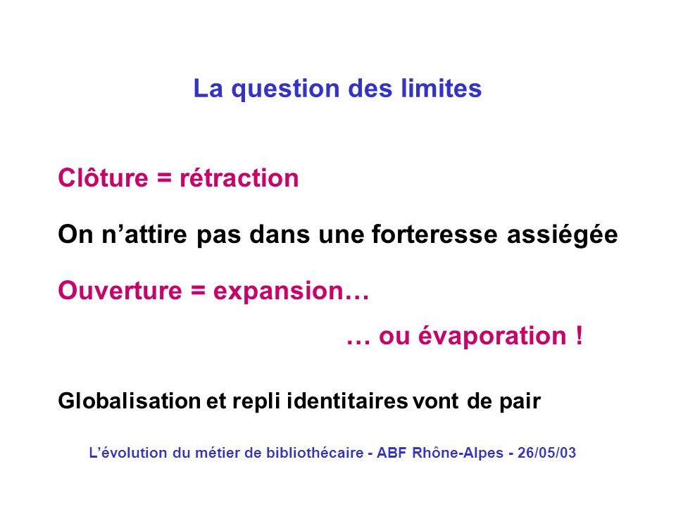 Lévolution du métier de bibliothécaire - ABF Rhône-Alpes - 26/05/03 Clôture = rétraction La question des limites On nattire pas dans une forteresse as