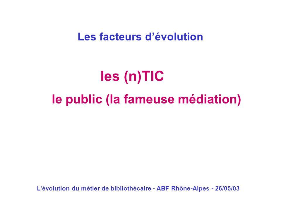 Lévolution du métier de bibliothécaire - ABF Rhône-Alpes - 26/05/03 les (n)TIC Les facteurs dévolution le public (la fameuse médiation)