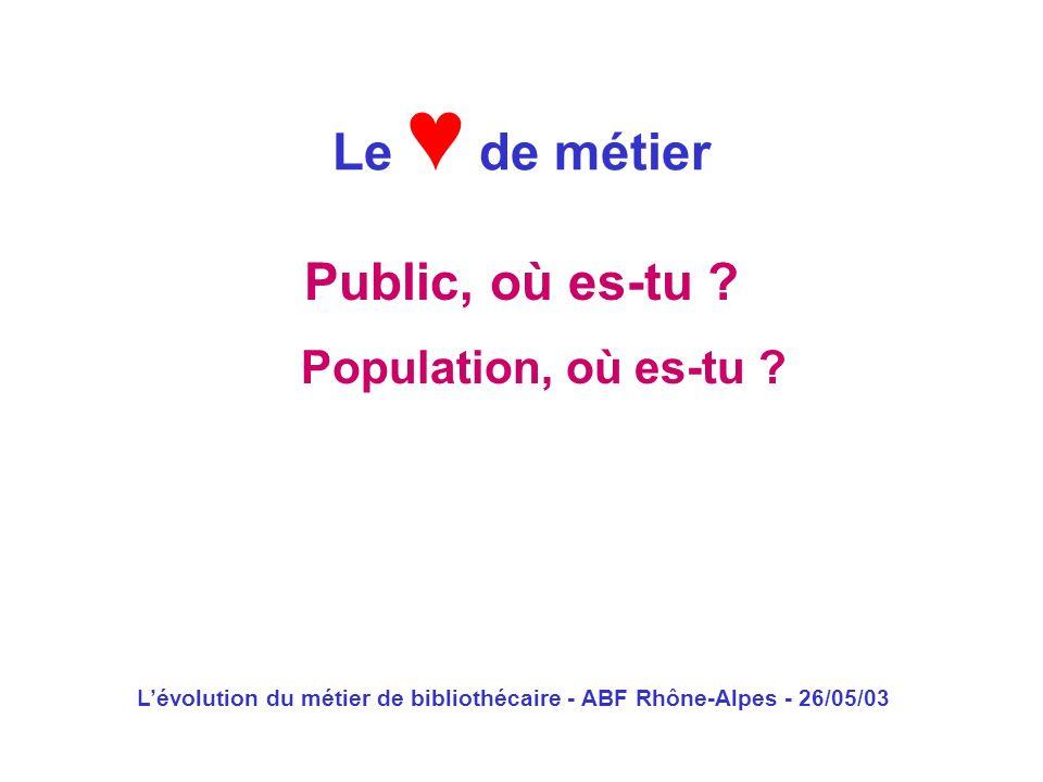 Lévolution du métier de bibliothécaire - ABF Rhône-Alpes - 26/05/03 Public, où es-tu ? Le de métier Population, où es-tu ?