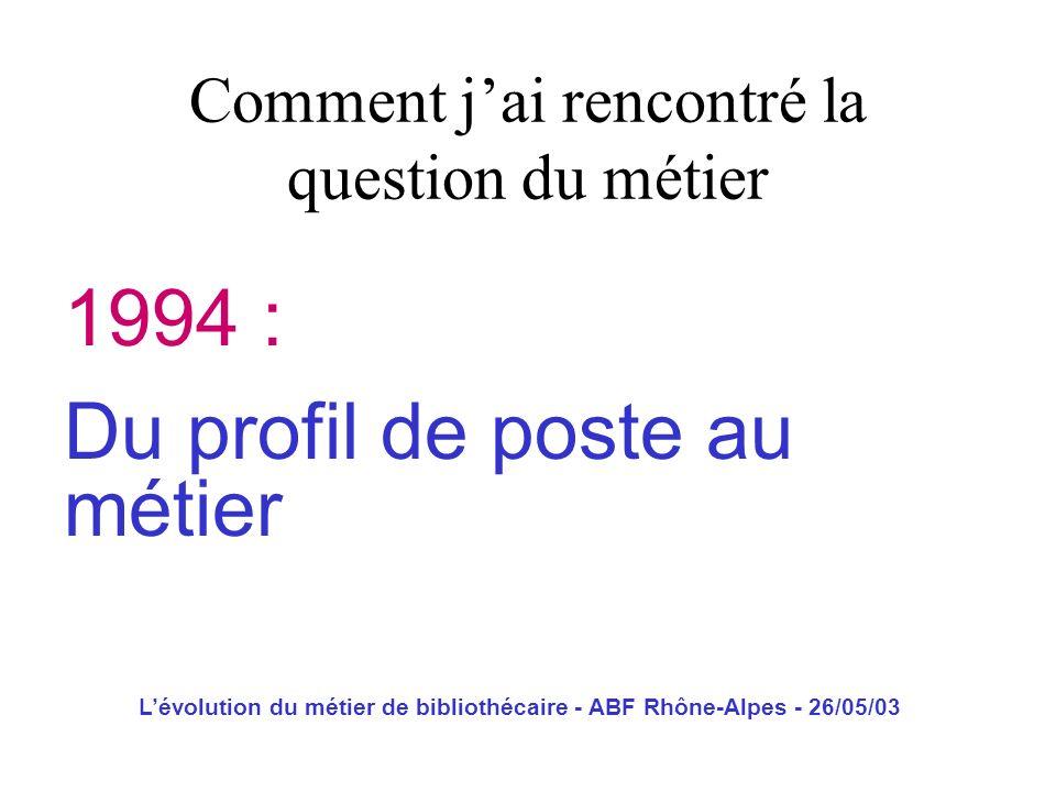 Lévolution du métier de bibliothécaire - ABF Rhône-Alpes - 26/05/03 Les trois métiers Lentreprise La GRH Lidentité professionnelle LE métier ?