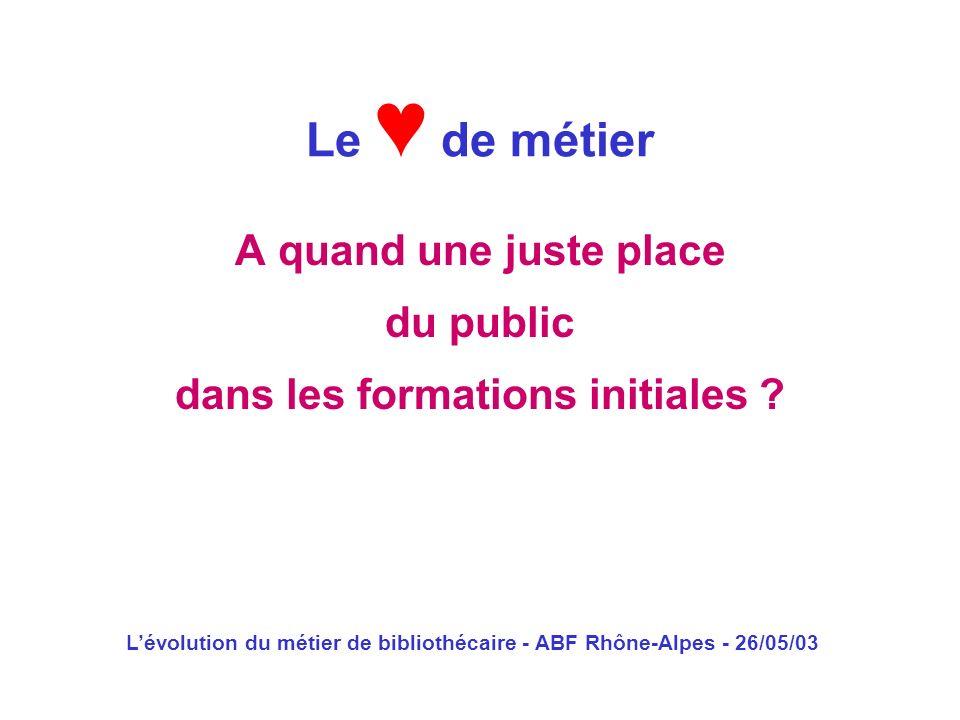 Lévolution du métier de bibliothécaire - ABF Rhône-Alpes - 26/05/03 A quand une juste place du public dans les formations initiales ? Le de métier