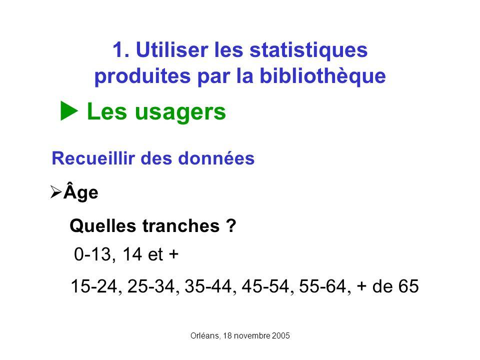Orléans, 18 novembre 2005 1. Utiliser les statistiques produites par la bibliothèque Les usagers Recueillir des données Âge Quelles tranches ? 0-13, 1
