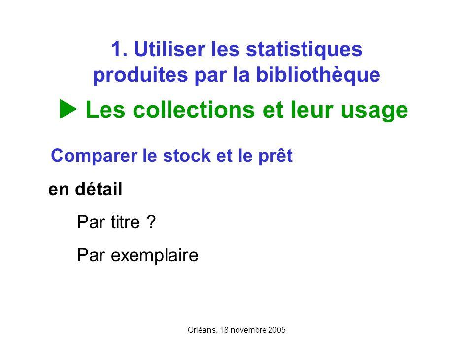Orléans, 18 novembre 2005 1. Utiliser les statistiques produites par la bibliothèque Les collections et leur usage Comparer le stock et le prêt en dét