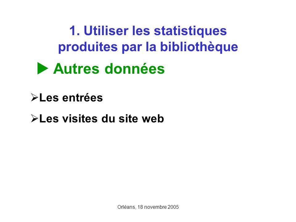 Orléans, 18 novembre 2005 1. Utiliser les statistiques produites par la bibliothèque Autres données Les entrées Les visites du site web