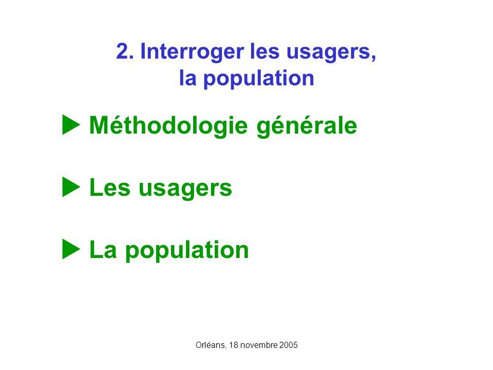 Orléans, 18 novembre 2005 2. Interroger les usagers, la population Méthodologie générale Les usagers La population