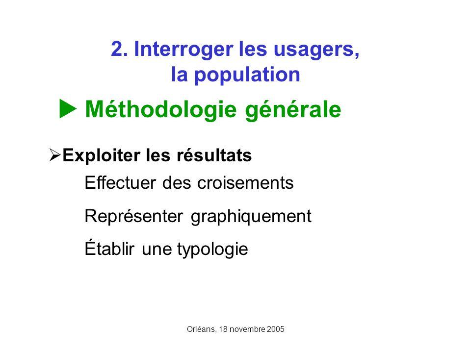 Orléans, 18 novembre 2005 2. Interroger les usagers, la population Méthodologie générale Exploiter les résultats Effectuer des croisements Représenter