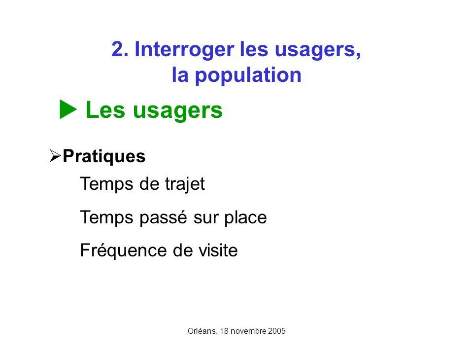 Orléans, 18 novembre 2005 2. Interroger les usagers, la population Les usagers Pratiques Temps de trajet Temps passé sur place Fréquence de visite
