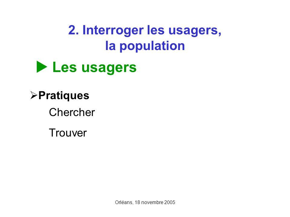 Orléans, 18 novembre 2005 2. Interroger les usagers, la population Les usagers Pratiques Chercher Trouver