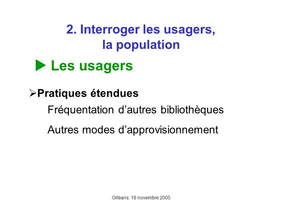 Orléans, 18 novembre 2005 2. Interroger les usagers, la population Les usagers Pratiques étendues Fréquentation dautres bibliothèques Autres modes dap