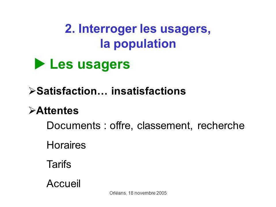 Orléans, 18 novembre 2005 2. Interroger les usagers, la population Les usagers Satisfaction… insatisfactions Attentes Documents : offre, classement, r