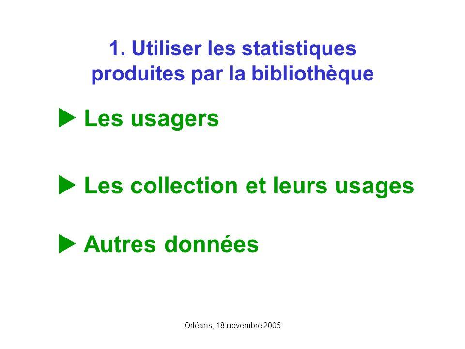 Orléans, 18 novembre 2005 1. Utiliser les statistiques produites par la bibliothèque Les usagers Les collection et leurs usages Autres données