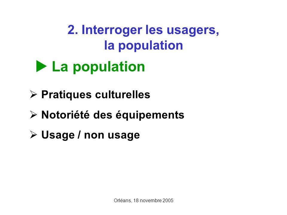 Orléans, 18 novembre 2005 2. Interroger les usagers, la population La population Pratiques culturelles Notoriété des équipements Usage / non usage