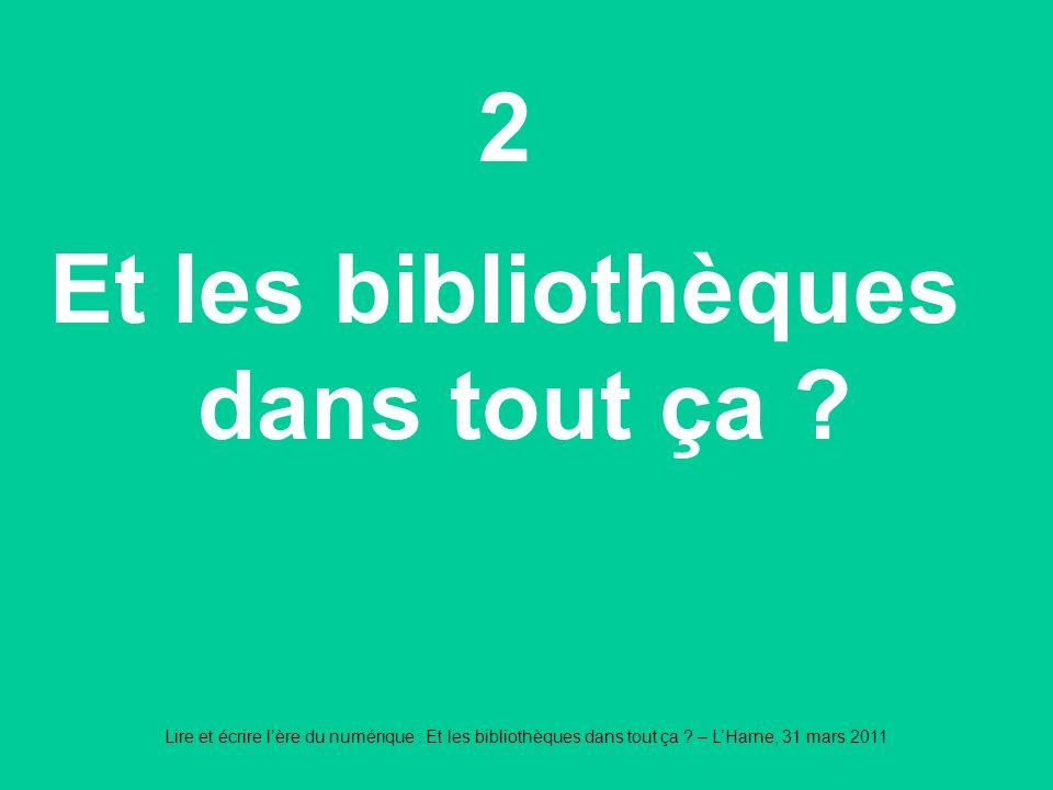 Lire et écrire lère du numérique : Et les bibliothèques dans tout ça ? – LHarne, 31 mars 2011 2 Et les bibliothèques dans tout ça ?