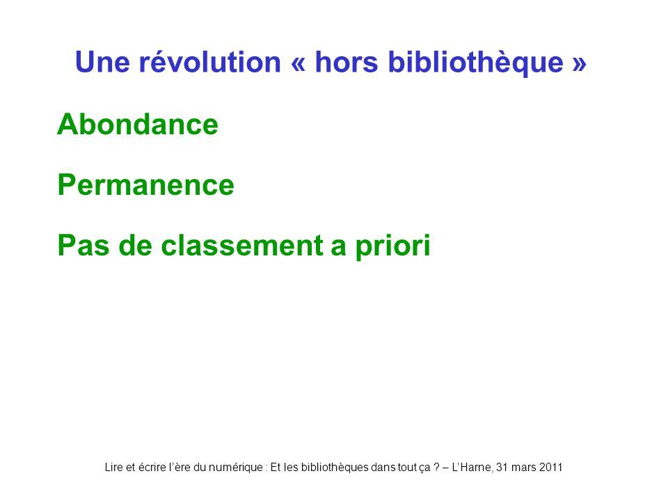 Lire et écrire lère du numérique : Et les bibliothèques dans tout ça ? – LHarne, 31 mars 2011 Une révolution « hors bibliothèque » Abondance Permanenc