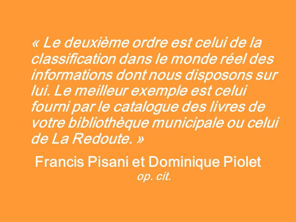 « Le deuxième ordre est celui de la classification dans le monde réel des informations dont nous disposons sur lui. Le meilleur exemple est celui four