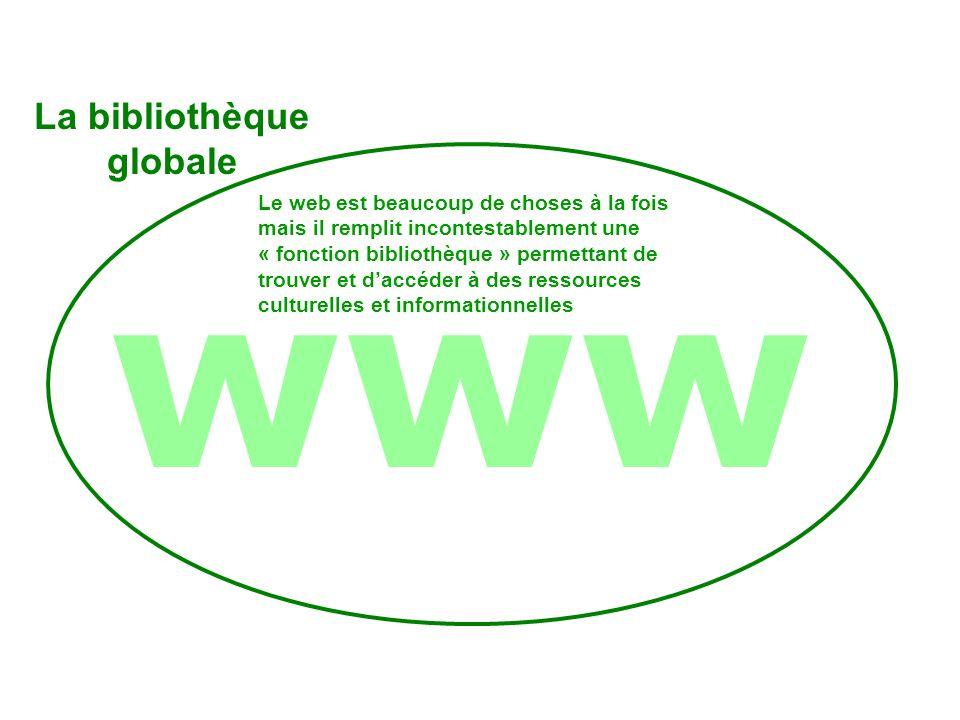 www Les 3 cercles Le web est beaucoup de choses à la fois mais il remplit incontestablement une « fonction bibliothèque » permettant de trouver et daccéder à des ressources culturelles et informationnelles La bibliothèque globale