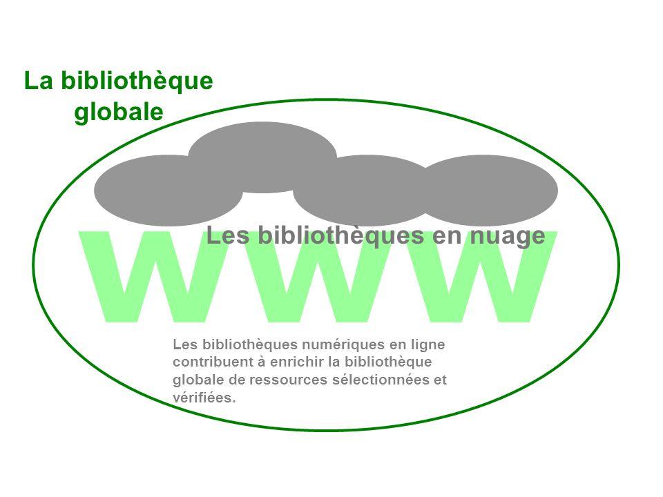 www Les bibliothèques en nuage Les 3 cercles Les bibliothèques numériques en ligne contribuent à enrichir la bibliothèque globale de ressources sélectionnées et vérifiées.