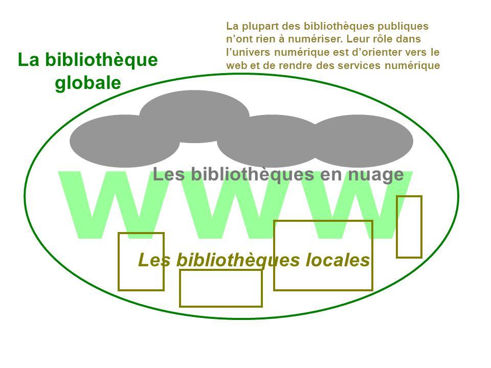 www Les bibliothèques locales Les bibliothèques en nuage Les 3 cercles La plupart des bibliothèques publiques nont rien à numériser.