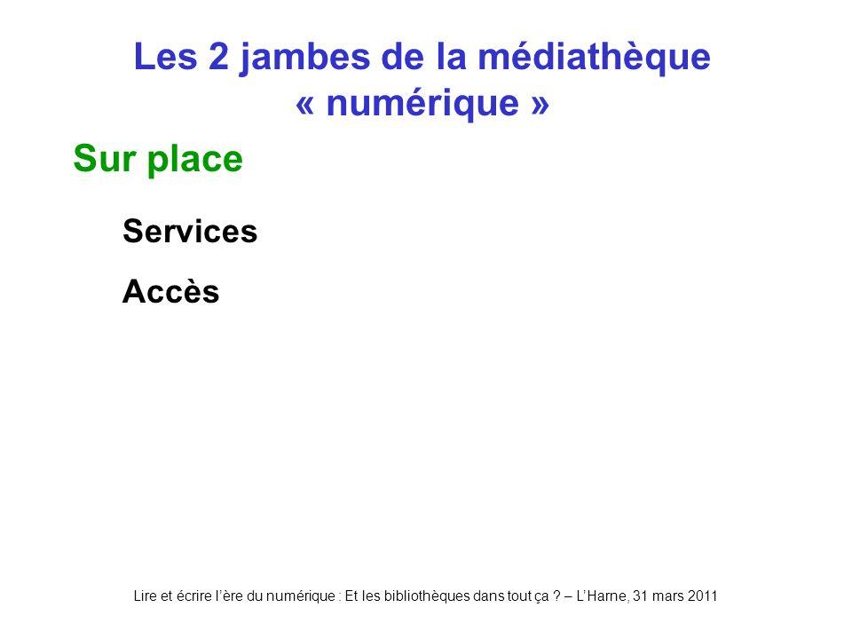 Lire et écrire lère du numérique : Et les bibliothèques dans tout ça ? – LHarne, 31 mars 2011 Les 2 jambes de la médiathèque « numérique » Sur place S