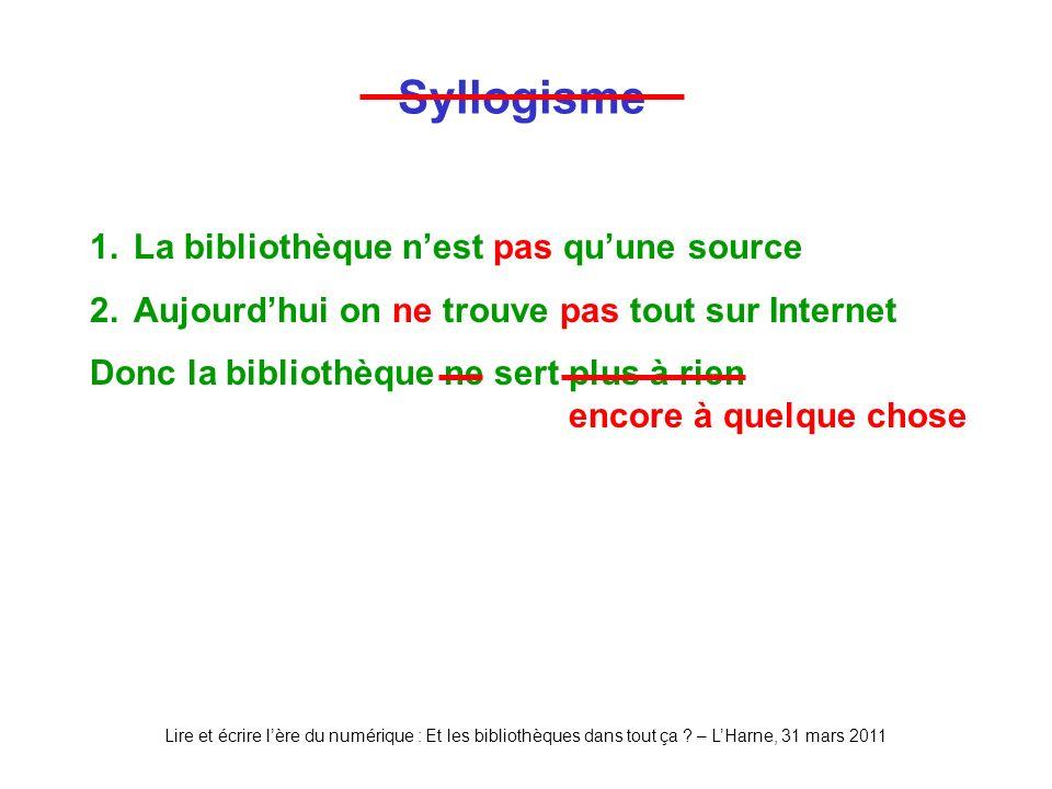 Lire et écrire lère du numérique : Et les bibliothèques dans tout ça ? – LHarne, 31 mars 2011 Syllogisme 1.La bibliothèque nest pas quune source 2.Auj