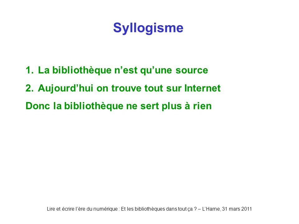 Lire et écrire lère du numérique : Et les bibliothèques dans tout ça ? – LHarne, 31 mars 2011 Syllogisme 1.La bibliothèque nest quune source 2.Aujourd