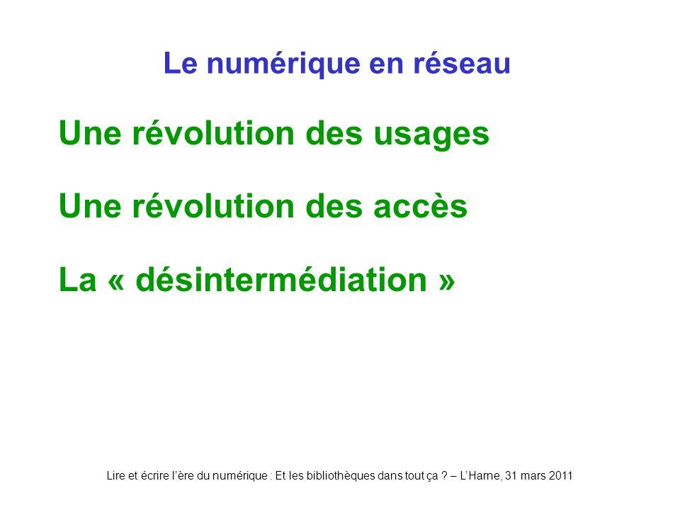 Lire et écrire lère du numérique : Et les bibliothèques dans tout ça ? – LHarne, 31 mars 2011 Le numérique en réseau Une révolution des usages Une rév