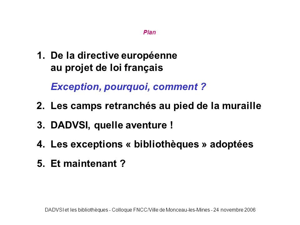 DADVSI et les bibliothèques - Colloque FNCC/Ville de Monceau-les-Mines - 24 novembre 2006 Plan 1.