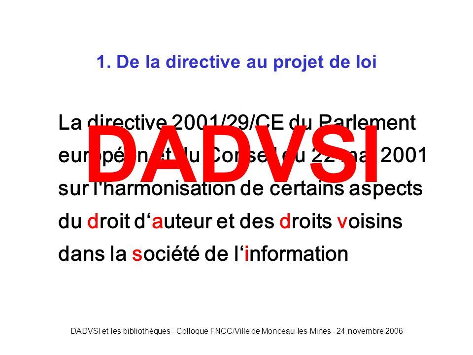 DADVSI et les bibliothèques - Colloque FNCC/Ville de Monceau-les-Mines - 24 novembre 2006 Exceptions dans le CPI (avant DADVSI) Représentations privées et gratuites dans le cercle de famille Copies réservées à lusage privé du copiste Analyses et courtes citations Revues de presse panoramas de presse .