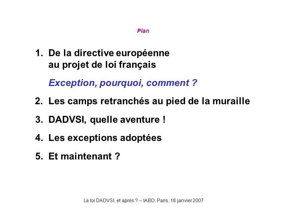 La loi DADVSI, et après . – IABD, Paris, 18 janvier 2007 Plan 1.