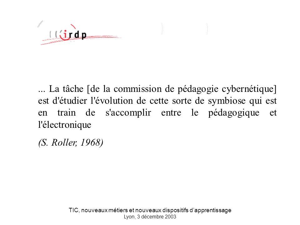 TIC, nouveaux métiers et nouveaux dispositifs dapprentissage Lyon, 3 décembre 2003...