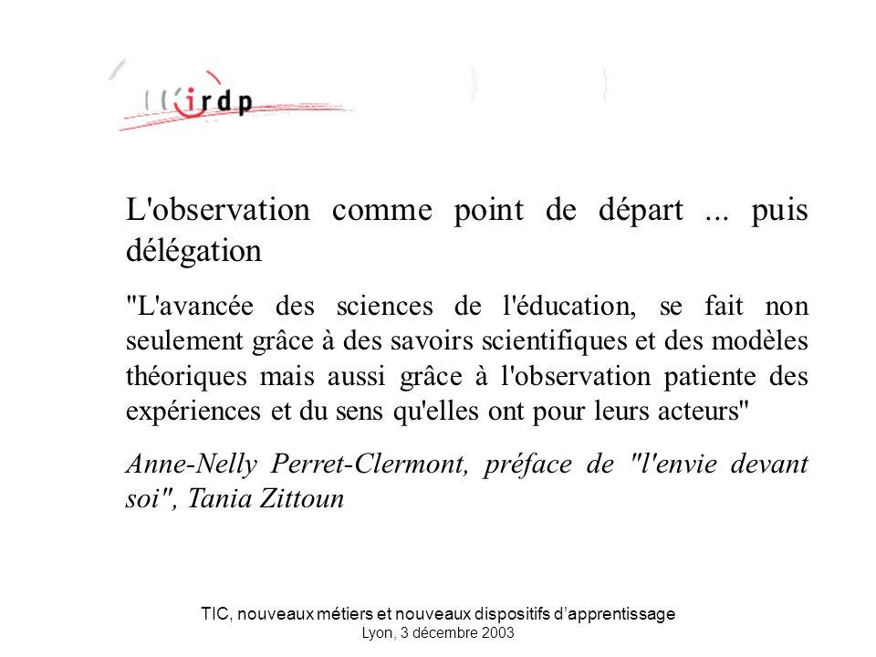TIC, nouveaux métiers et nouveaux dispositifs dapprentissage Lyon, 3 décembre 2003 L observation comme point de départ...