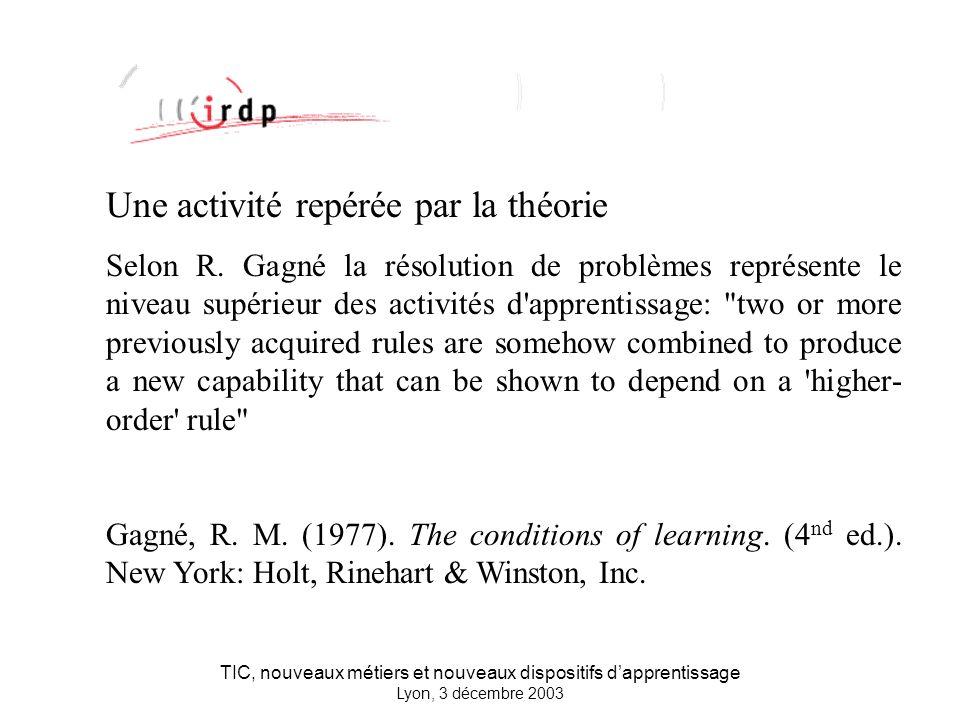 TIC, nouveaux métiers et nouveaux dispositifs dapprentissage Lyon, 3 décembre 2003 Une activité repérée par la théorie Selon R.