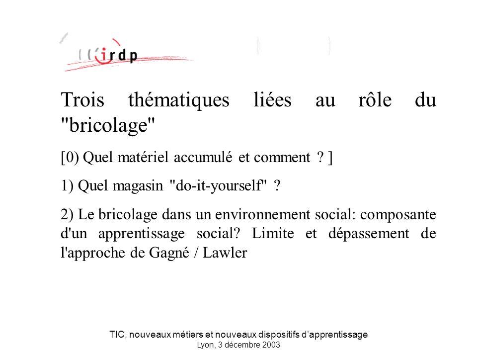 TIC, nouveaux métiers et nouveaux dispositifs dapprentissage Lyon, 3 décembre 2003 Trois thématiques liées au rôle du bricolage [0) Quel matériel accumulé et comment .