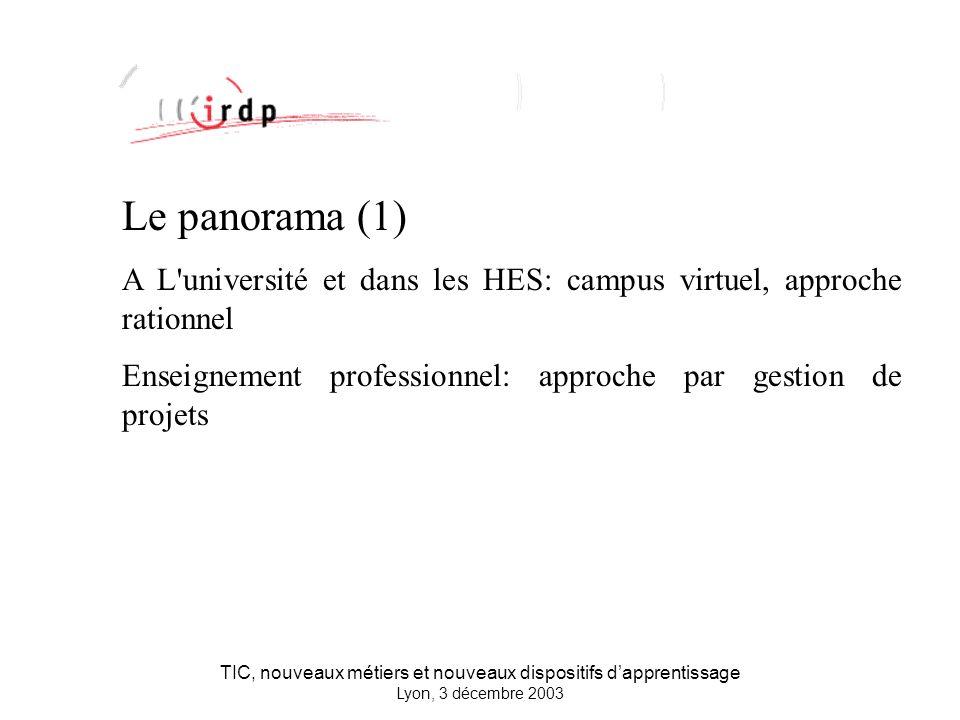 TIC, nouveaux métiers et nouveaux dispositifs dapprentissage Lyon, 3 décembre 2003 Le panorama (1) A L université et dans les HES: campus virtuel, approche rationnel Enseignement professionnel: approche par gestion de projets