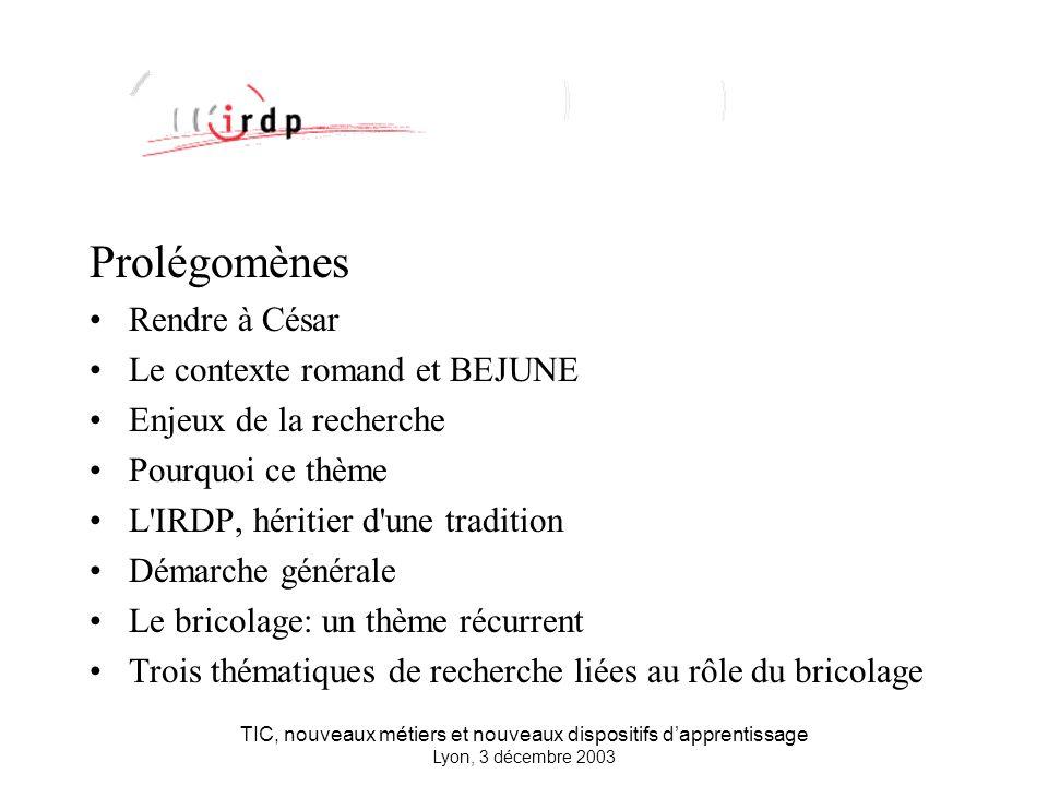 TIC, nouveaux métiers et nouveaux dispositifs dapprentissage Lyon, 3 décembre 2003 Rendre à César....